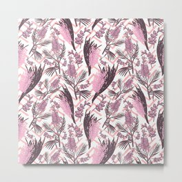 Australian Native Flowers - Pink Fashion Pattern Metal Print