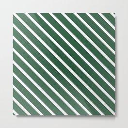 Dark Green Diagonal Stripes Metal Print