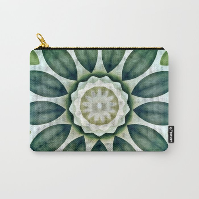 Foliage Greens Flower Kaleidoscope Carry-All Pouch
