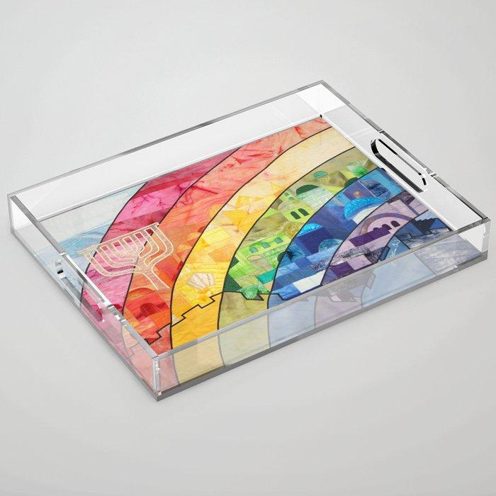 Rainbow over Jerusalem (2) Acrylic Tray