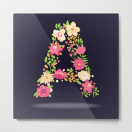 Floral letter A Metal Print