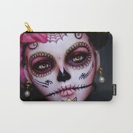 Mexican Hibiscus Day of the Dead Skull Carry-All Pouch