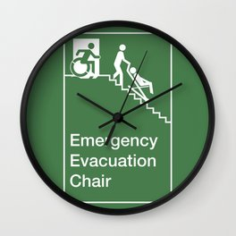 Accessible Means of Egress Icon, Emergency Evacuation Chair Sign Wall Clock