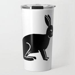 Black and white linocut rabbit drawing inked minimal art animal spirit animals Travel Mug