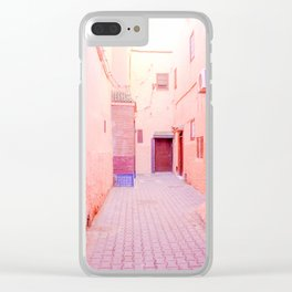 Colorful Pink Hued Street in Medina Marrakech Morocco Clear iPhone Case