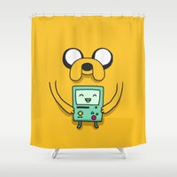 bmo Shower Curtains featuring Jake and BMO by OverClocked