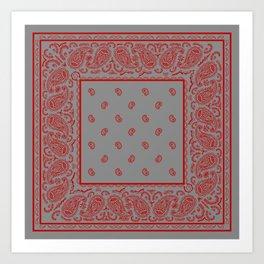 Classic Gray and Red Bandana Art Print