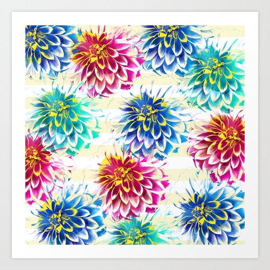 Colorful Dahlias Art Print