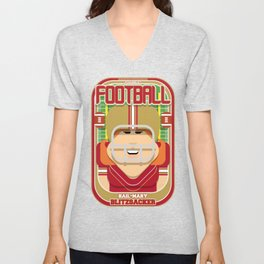 American Football Red and Gold - Hail-Mary Blitzsacker - Jacqui version Unisex V-Neck