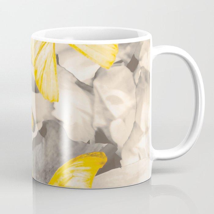 Yellow Butterflies on Dark Floral Background #decor #society6 #buyart Coffee Mug