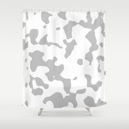 Large Spots - White and Silver Gray Shower Curtain
