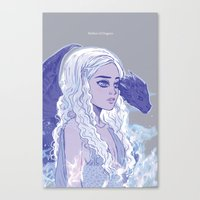mother of dragons Canvas Prints featuring Mother of Dragons by Natalie Nardozza