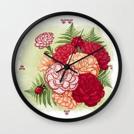 Full bloom | Ladybug carnation Wall Clock