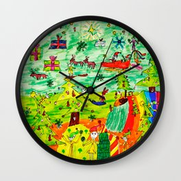 Christmas Village | Painting by Elisavet Wall Clock