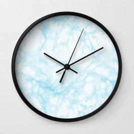 Elegant pastel blue white modern marble Wall Clock