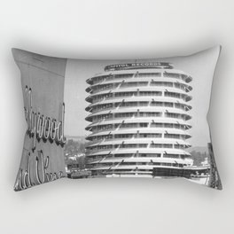Capital Records Building, Los Angeles, California black and white photograph / black and white photography Rectangular Pillow
