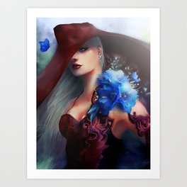 Kissed by the light - Blonde girl with hat and blue flowers Art Print