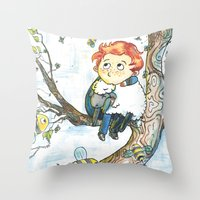 cabin pressure Throw Pillows featuring Cabin Pressure: Uskerty by theo-doras
