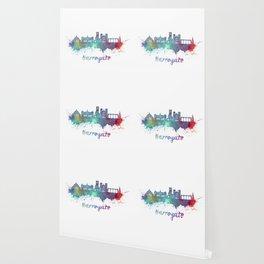 Harrogate skyline in watercolor splatters Wallpaper