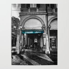 Black and White Bologna Street Photography Vector Green Poster