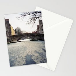 Frozen Canals of Bruges | Winter in Belgium| 1996 Vintage analog photo | Fine art travel photography Stationery Cards