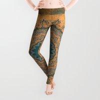 bohemian Leggings featuring Bohemian Orange by Jane Lacey Smith