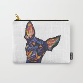 Miniature Pinscher Dog Portrait bright colorful Fun Pop Art Dog Painting by LEA Carry-All Pouch