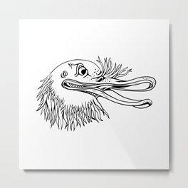 Angry Kiwi Bird Head Cartoon Black and White Metal Print