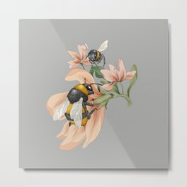 Bumblebees with Florals Metal Print