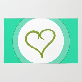 Green Heart with Love Rug