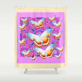 EXOTIC ORIENTAL BUTTERFLIES PINK-YELLOW ART Shower Curtain
