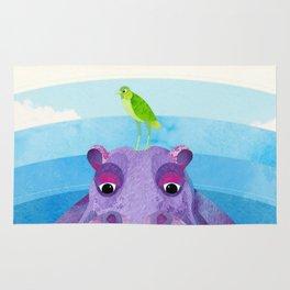 Betty & Ralph the Hippo and Bird Rug