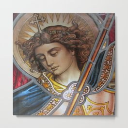 Angel in Glass Metal Print
