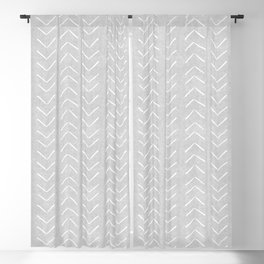 Mudcloth Big Arrows in Grey Blackout Curtain