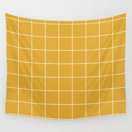 Yellow #9 Grid Stripe Lines Minimalist Geometric Line Stripes Wall Tapestry