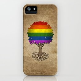 Vintage Tree of Life with Gay Pride Rainbow Flag iPhone Case