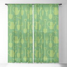 Green Garden Tools Sheer Curtain