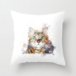 Glowing Cat Eyes Throw Pillow