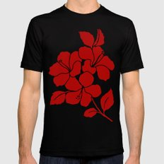Hibiscus Animal RED IVORY MEDIUM Mens Fitted Tee Black