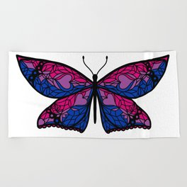 Fly With Pride: Bisexual Flag Butterfly Beach Towel