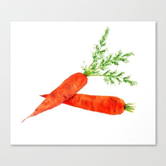 orange carrot watercolor painting Canvas Print