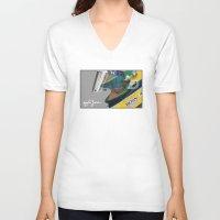 senna V-neck T-shirts featuring Senna Meditation by Borja Sanz