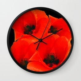 RED-ORANGE ORIENTAL POPPIES GRAPHIC ART Wall Clock
