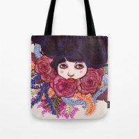sandra dieckmann Tote Bags featuring Sandra by Magali Almada