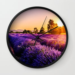 lavender field Wall Clock