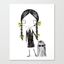 Wednesday Addams Illustrated Canvas Print