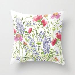 Flowering Meadow - Watercolor Throw Pillow