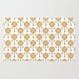 Golden keys pattern Rug