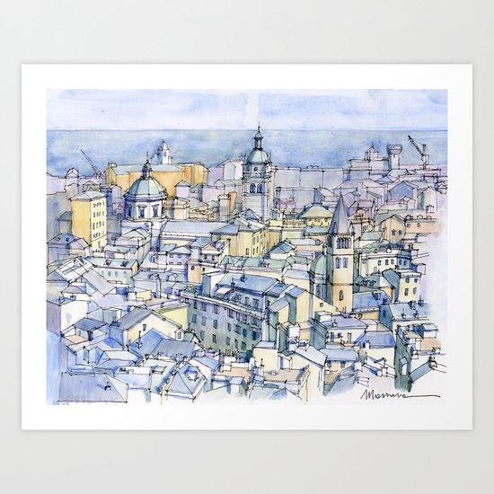 Il centro storico di Genova Art Print