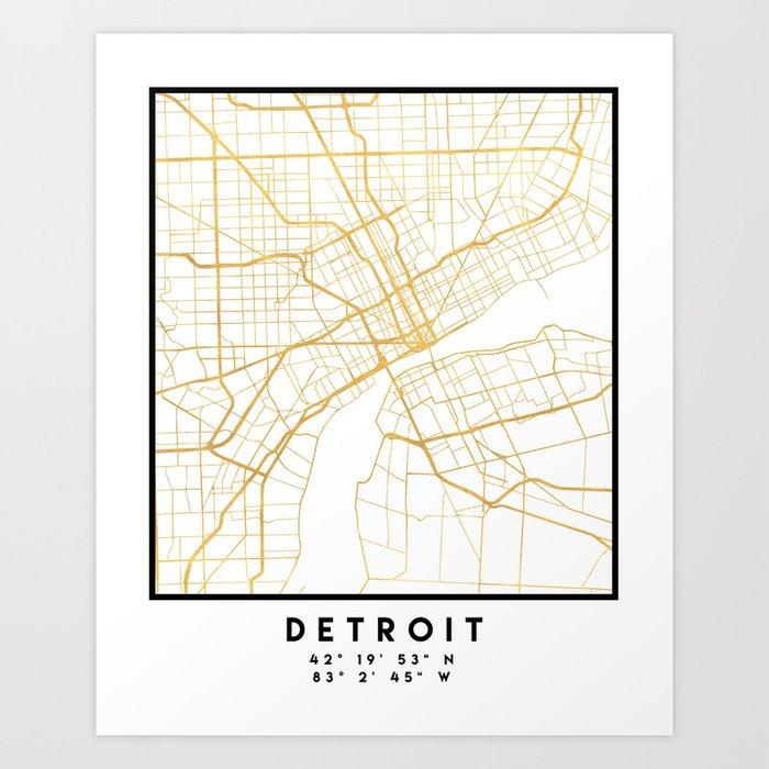 DETROIT MICHIGAN CITY STREET MAP ART Kunstdrucke